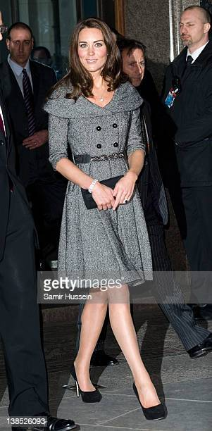 Catherine Duchess of Cambridge visits the Lucian Freud Portraits Exhibition at the National Portrait Gallery on February 8 2012 in London England