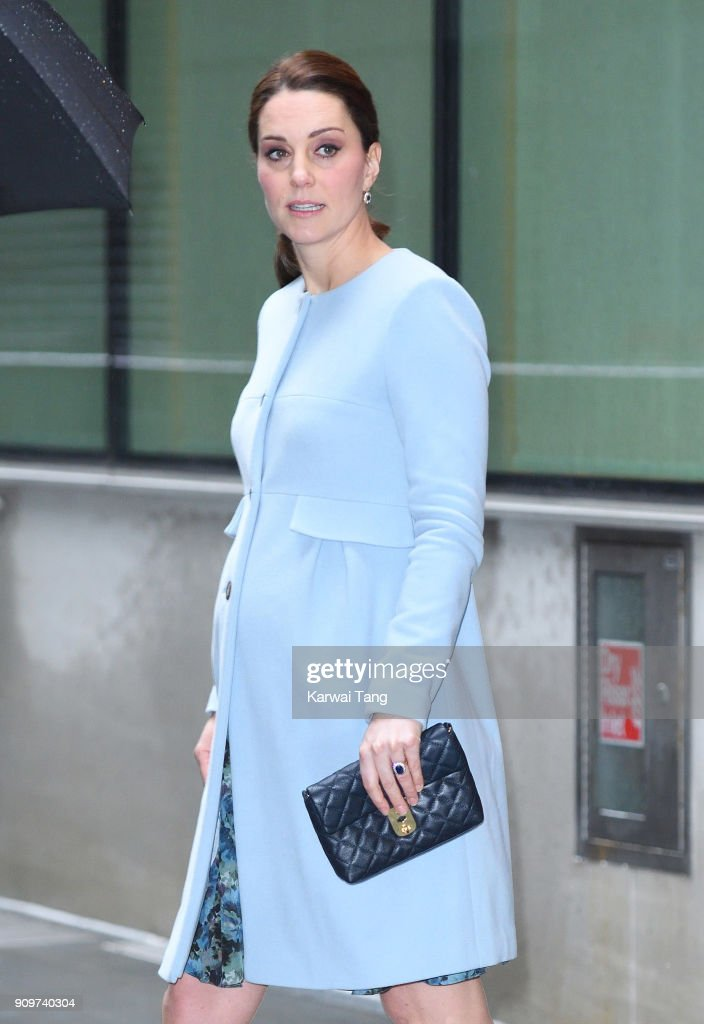 Catherine, Duchess of Cambridge visits the Maurice Wohl Clinical Neuroscience Institute at Kings College on January 24, 2018 in London, England.