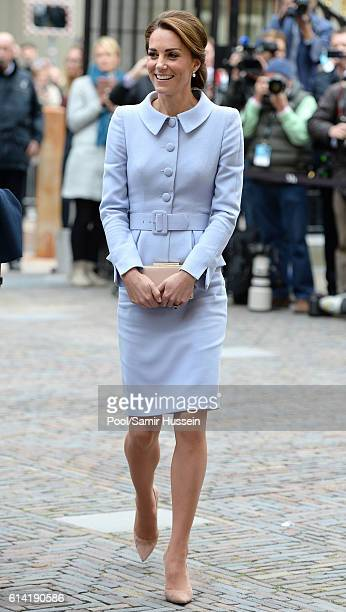 Catherine, Duchess of Cambridge visits the Mauritshuis to view the exhibition 'At Home in Holland: Vermeer and his Contemporaries from the British...