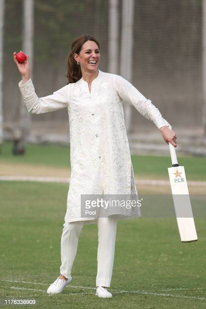 Catherine, Duchess of Cambridge visits the National Cricket Academy during their royal tour of Pakistan on October 17, 2019 in Lahore, Pakistan.