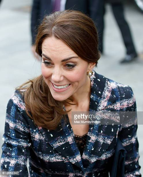 Catherine Duchess of Cambridge visits the National Football Museum on October 14 2016 in Manchester England