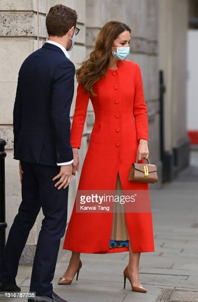 Catherine, Duchess of Cambridge visits the National Portrait Gallery Archive on May 07, 2021 in London, England.