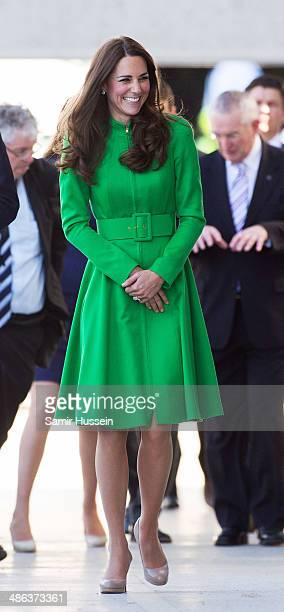 Catherine Duchess of Cambridge visits the National Portrait Gallery on April 24 2014 in Canberra Australia The Duke and Duchess of Cambridge are on a...