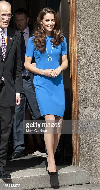 Catherine, Duchess Of Cambridge Visits The National Portrait Gallery'S Road To 2012: Aiming High Exhibition In London.