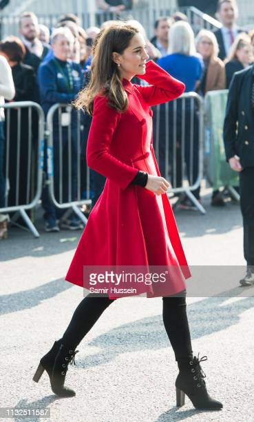 Catherine, Duchess of Cambridge visits the National Stadium in Belfast, home of the Irish Football Association on February 27, 2019 in Belfast,...