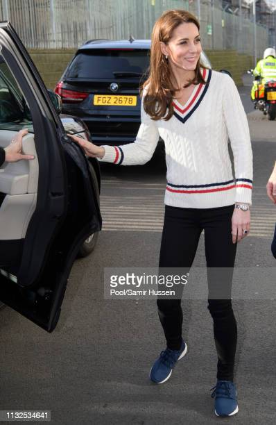 Catherine Duchess of Cambridge visits the National Stadium in Belfast home of the Irish Football Association on February 27 2019 in Belfast Northern...
