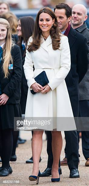 Catherine Duchess of Cambridge visits the new home of Ben Ainslie Racing and the 1851 Trust to view an art project by the local community on February...