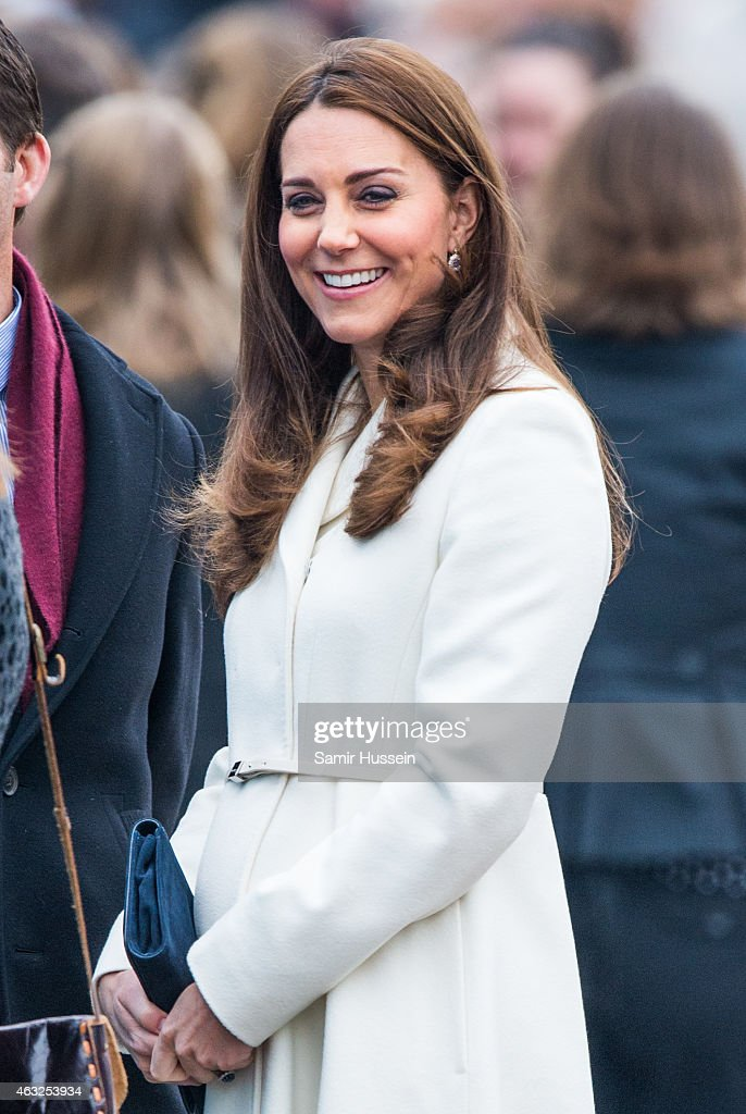 Catherine, Duchess of Cambridge visits the new home of Ben Ainslie Racing and the 1851 Trust to view an art project by the local community on February 12, 2015 in Portsmouth, England.