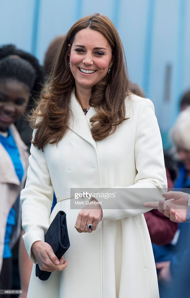 Catherine, Duchess of Cambridge visits the new HQ of Ben Ainslie Racing on February 12, 2015 in Portsmouth, England.