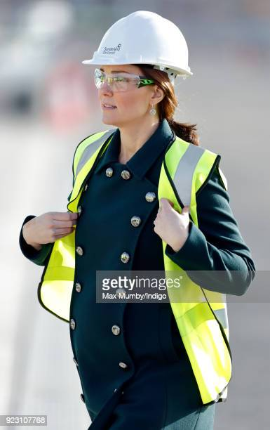 Catherine Duchess of Cambridge visits the Northern Spire a new bridge over the River Wear on February 21 2018 in Sunderland England The Northern...