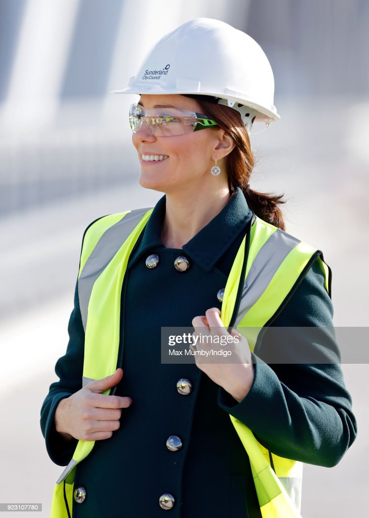Catherine, Duchess of Cambridge visits the Northern Spire, a new bridge over the River Wear, on February 21, 2018 in Sunderland, England. The Northern Spire, a 1550 tonne pylon structure, is a key part of a wider transport plan to improve links between the Port of Sunderland and the city centre with the A19.