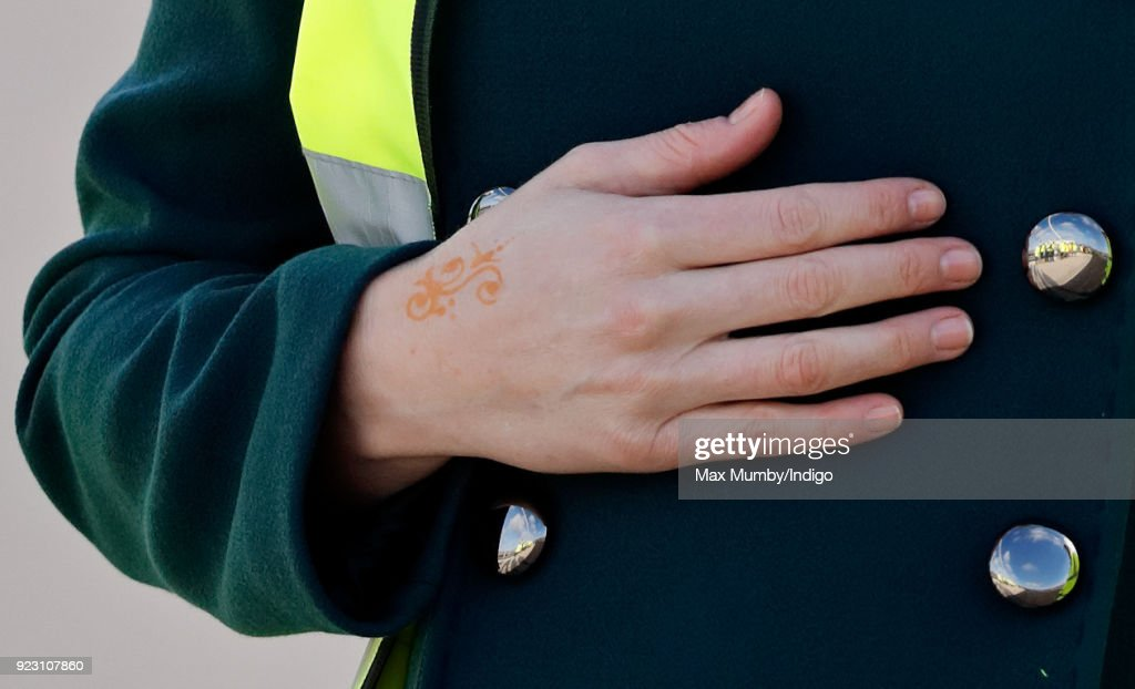 Catherine, Duchess of Cambridge (henna tattoo detail) visits the Northern Spire, a new bridge over the River Wear, on February 21, 2018 in Sunderland, England. The Northern Spire, a 1550 tonne pylon structure, is a key part of a wider transport plan to improve links between the Port of Sunderland and the city centre with the A19.