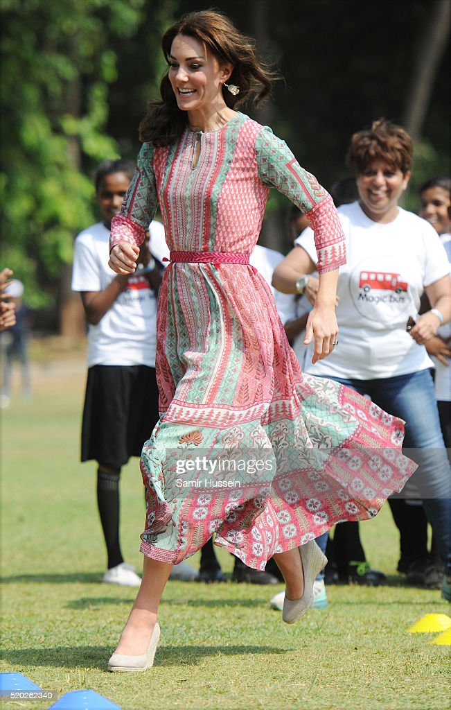 Catherine, Duchess of Cambridge visits the Oval Maidan ground for a children's cricket match and meeting with local children on April 10, 2016 in Mumbai, India.