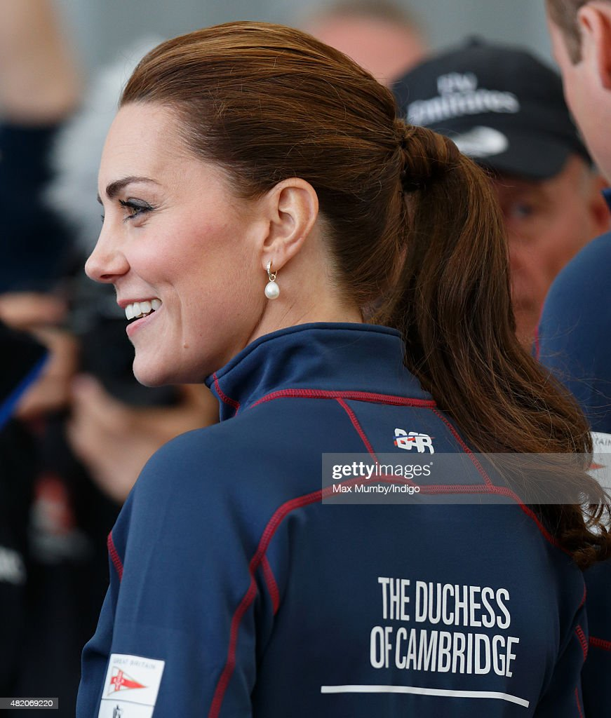 Catherine, Duchess of Cambridge visits the Portsmouth Historical Dockyard as she attends the America's Cup World Series event on July 26, 2015 in Portsmouth, England.