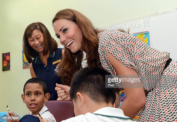 Catherine Duchess of Cambridge visits The Rainbow Centre a children's learning centre on day 2 of the Diamond Jubilee Tour of the Far East on...