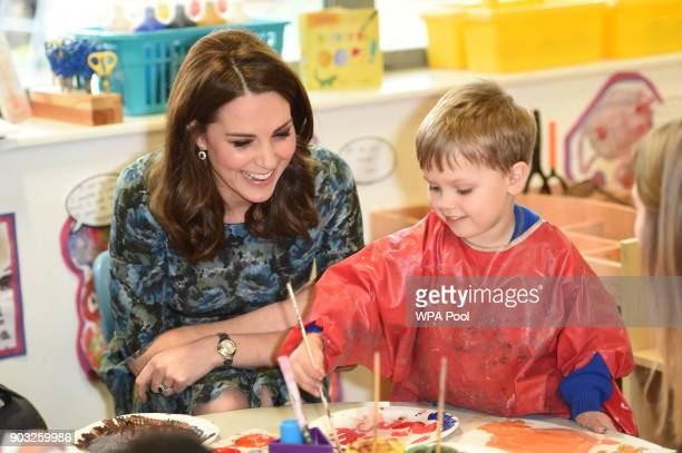 Catherine, Duchess of Cambridge visits the Reach Academy with Place2Be on January 10, 2018 in London, England. The Duchess of Cambridge has been...