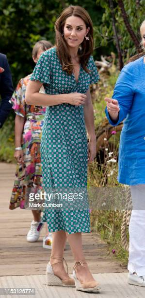 Catherine, Duchess of Cambridge visits The RHS Back to Nature Garden she designed at the 2019 RHS Hampton Court Palace Flower Show at Hampton Court...
