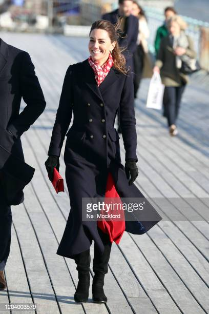 Catherine Duchess of Cambridge visits the RNLI Mumbles Lifeboat Station on February 04 2020 in Swansea Wales