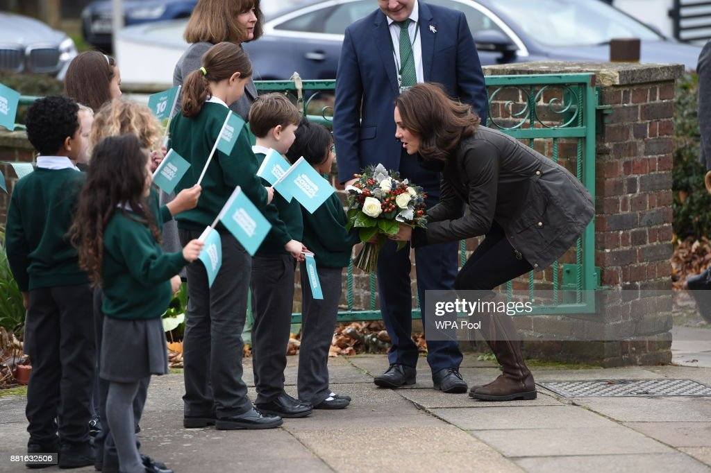 The Duchess Of Cambridge Visits Robin Hood Primary School : News Photo