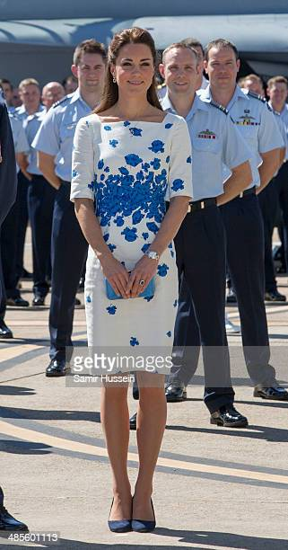 Catherine Duchess of Cambridge visits the Royal Australian Airforce Base at Amberley on April 19 2014 in Brisbane Australia The Duke and Duchess of...