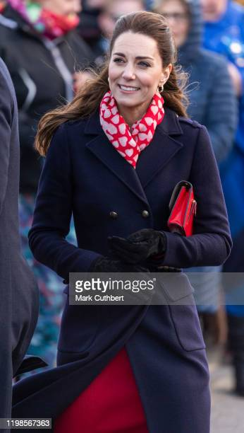 Catherine Duchess of Cambridge visits the Royal National Lifeboat Institution Mumbles Lifeboat station which is one of Wales busiest lifeboat...