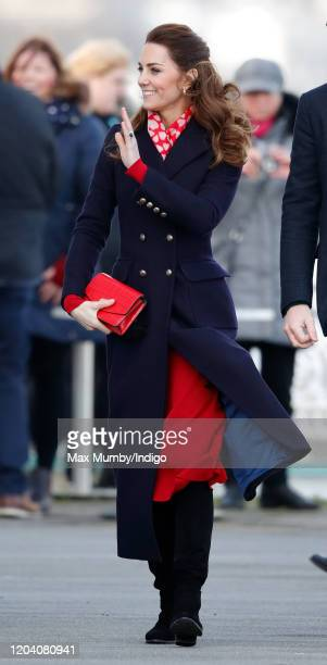 Catherine, Duchess of Cambridge visits the Royal National Lifeboat Institution Mumbles Lifeboat station on Mumbles Pier on February 4, 2020 in...
