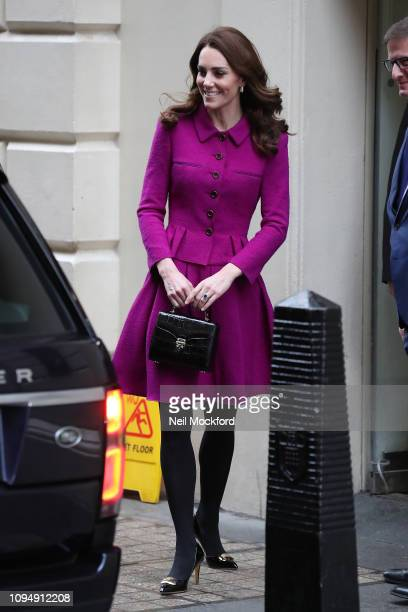 Catherine, Duchess of Cambridge visits The Royal Opera House on January 16, 2019 in London, England to learn more about their use of textiles,...