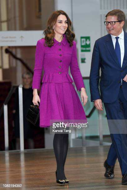 Catherine Duchess of Cambridge visits the Royal Opera House to learn more about their use of textiles commissioning of fabrics and supply chain on...