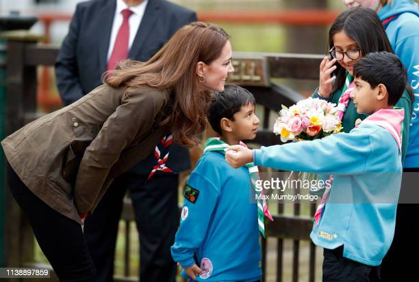 Catherine Duchess of Cambridge visits the Scouts' headquarters at Gilwell Park to learn more about the organisation's new pilot scheme to bring...