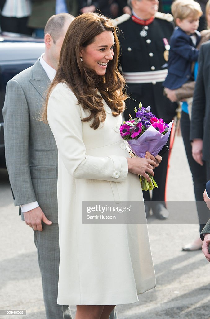 Catherine, Duchess of Cambridge visits the set of Downton Abbey at Ealing Studios on an official visit on March 12, 2015 in London, England.