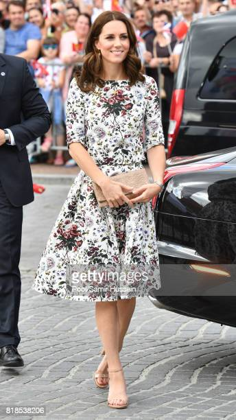 Catherine Duchess of Cambridge visits the Shakespeare theatre during an official visit to Poland and Germany on July 18 2017 in Gdansk Poland