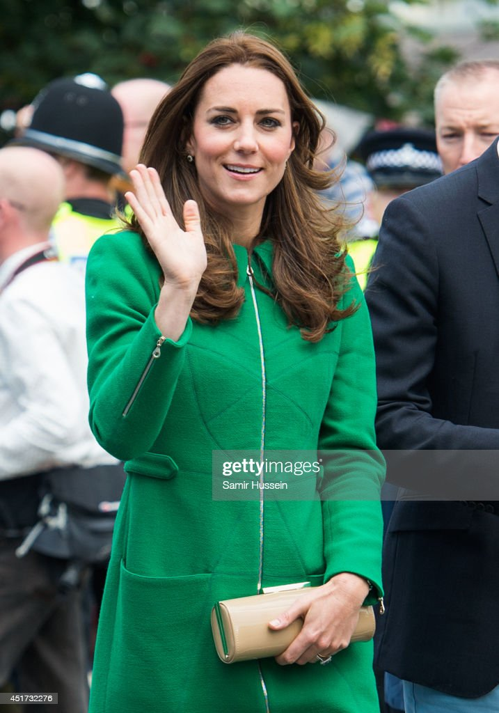 Catherine, Duchess of Cambridge visits the Stage 1 route of the Tour de France on July 5, 2014 at West Tanfield, Yorkshire, England.
