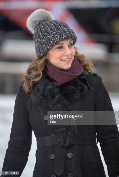 Catherine Duchess of Cambridge visits the Stockholm bandy team Hammarby IF where they will learn more about the popularity of the sport during day...