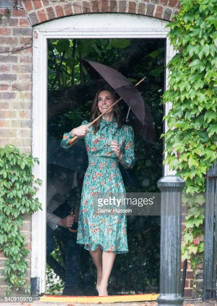 Catherine Duchess of Cambridge visits The Sunken Garden at Kensington Palace on August 30 2017 in London England The garden has been transformed into...
