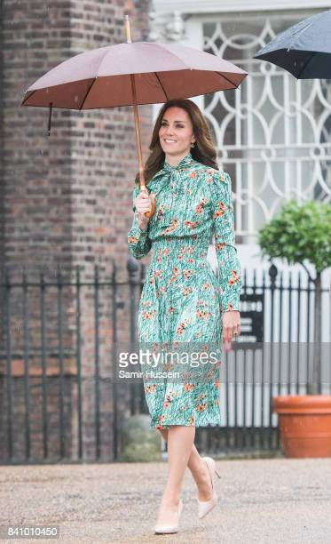 Catherine, Duchess of Cambridge visits The Sunken Garden at Kensington Palace on August 30, 2017 in London, England. The garden has been transformed...