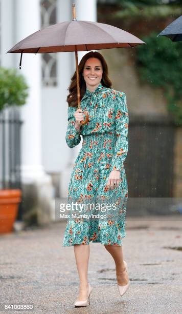 Catherine Duchess of Cambridge visits the Sunken Garden in the grounds of Kensington Palace on August 30 2017 in London England The Sunken Garden has...