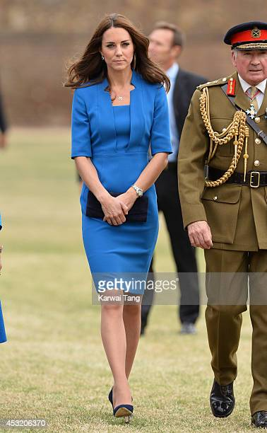 Catherine Duchess of Cambridge visits the Tower of London's 'Blood Swept Lands and Seas of Red' poppy installation in the Tower of London's moat on...