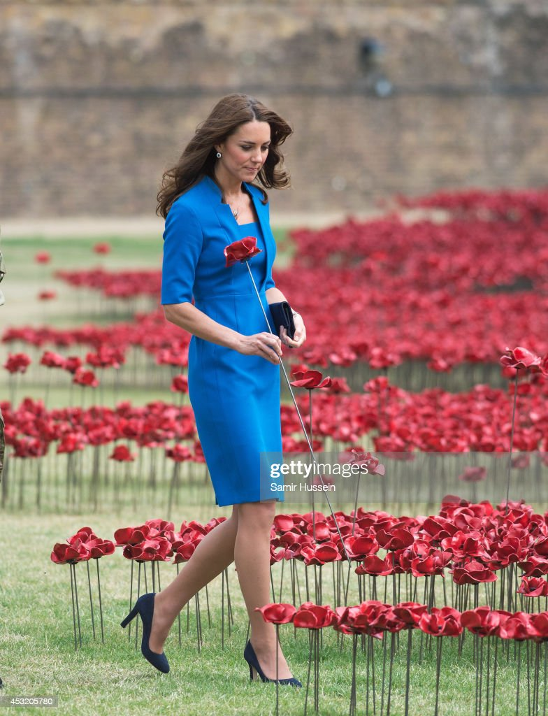Catherine, Duchess of Cambridge visits The Tower Of London's Ceramic Poppy installation 'Blood Swept Lands and Seas of Red' by artist Paul Cummins, commemortating the 100th anniversary of the outbreak of First World War on August 5, 2014 in London, England.