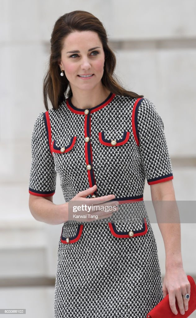 Catherine, Duchess of Cambridge visits the Victoria and Albert Museum (V&A) to officially open the Museum's new entrance, courtyard and exhibition gallery on June 29, 2017 in London, England. The V&A Exhibition Road Quarter was designed by British Architect Amanda Levete.