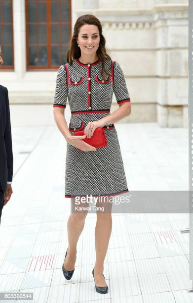 Catherine, Duchess of Cambridge visits the Victoria and Albert Museum to officially open the Museum's new entrance, courtyard and exhibition gallery...
