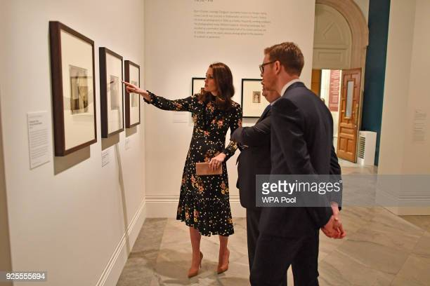 Catherine, Duchess of Cambridge visits the 'Victorian Giants' exhibition at National Portrait Gallery on February 28, 2018 in London, England.