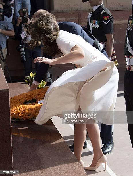 Catherine Duchess of Cambridge visits the war memorial India Gate to lay a wreath on April 11 2016 in New Delhi India