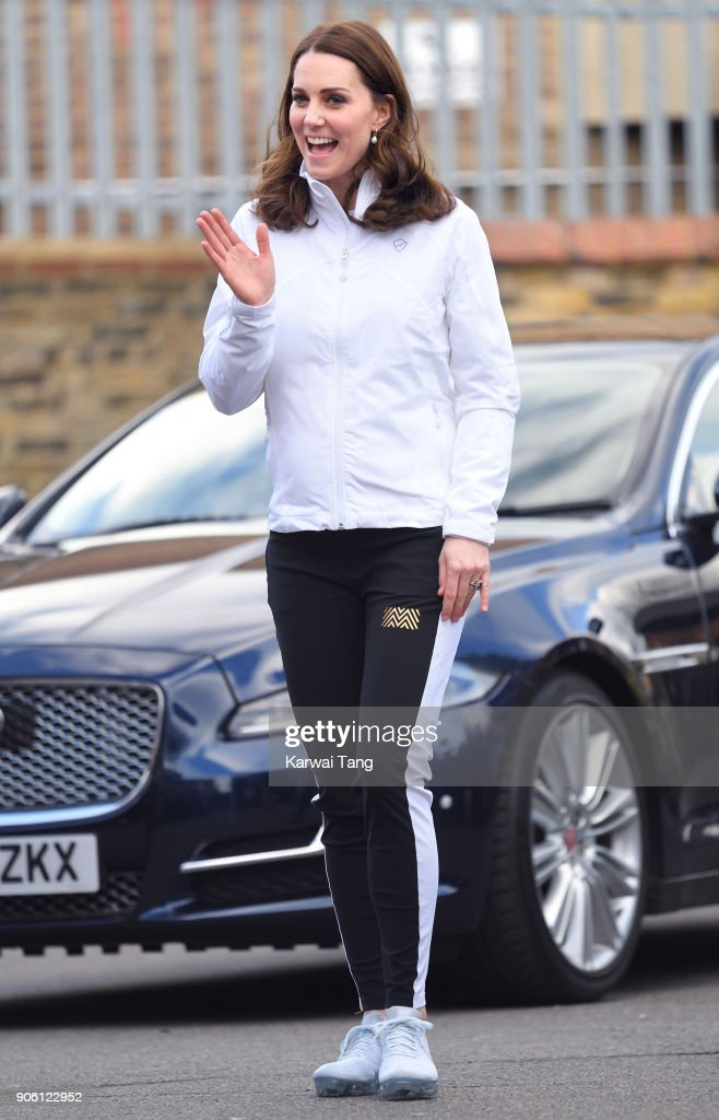 Catherine, Duchess of Cambridge visits The Wimbledon Junior Tennis Initiative at Bond Primary School on January 17, 2018 in London, England.