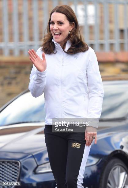 Catherine Duchess of Cambridge visits The Wimbledon Junior Tennis Initiative at Bond Primary School on January 17 2018 in London England