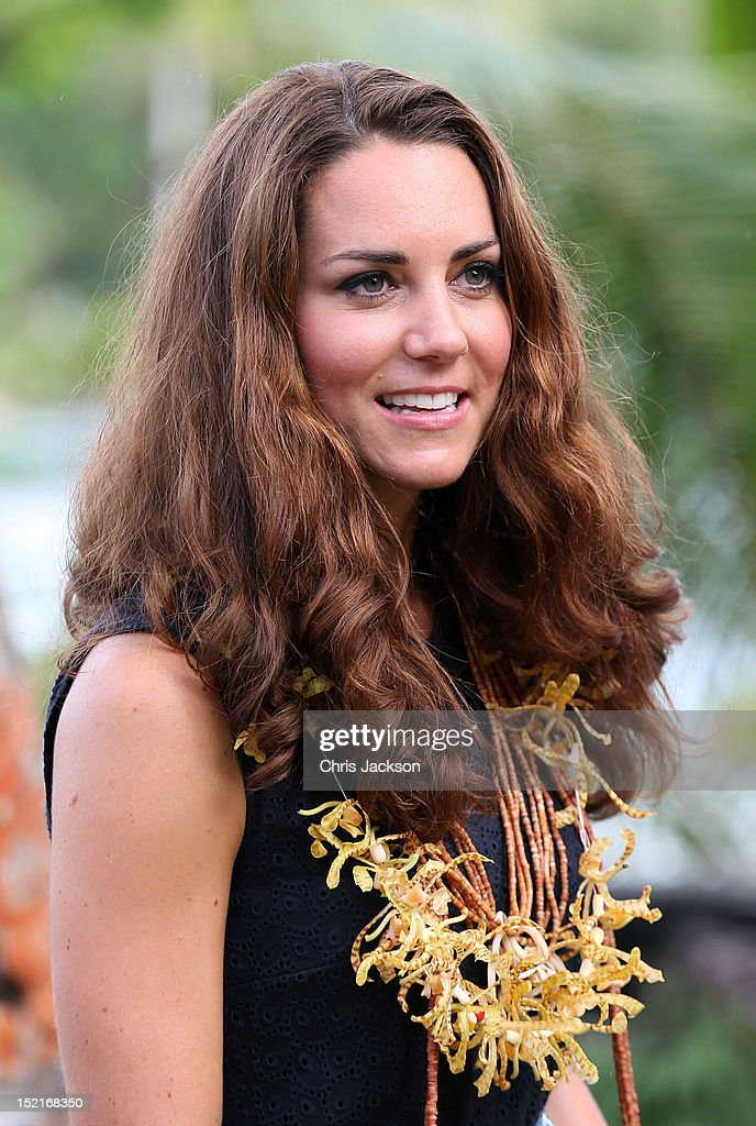 Catherine, Duchess of Cambridge visits Tuvanipupu Island on their Diamond Jubilee tour of the Far East on September 17, 2012 in Honiara, Guadalcanal Island. Prince William, Duke of Cambridge and Catherine, Duchess of Cambridge are on a Diamond Jubilee tour representing the Queen taking in Singapore, Malaysia, the Solomon Islands and Tuvalu.