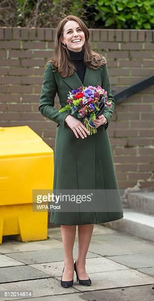 Catherine Duchess of Cambridge visits Wester Hailes Education Centre in Edinburgh on February 24 2016 in Edinburgh Scotland
