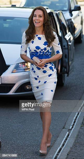 Catherine Duchess of Cambridge visits Youthscape on August 24 2016 in Luton England The Duke and Duchess visited Youthscape at Bute Mills to tour the...