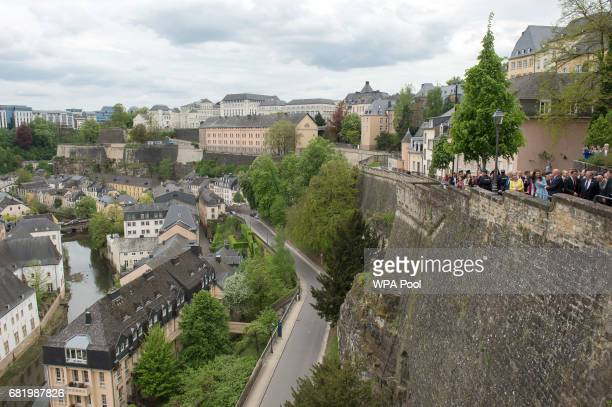 Catherine Duchess of Cambridge walks along along the Cornicjhe in Luxembourg City during a one day of visits in Luxembourg where she is attending...