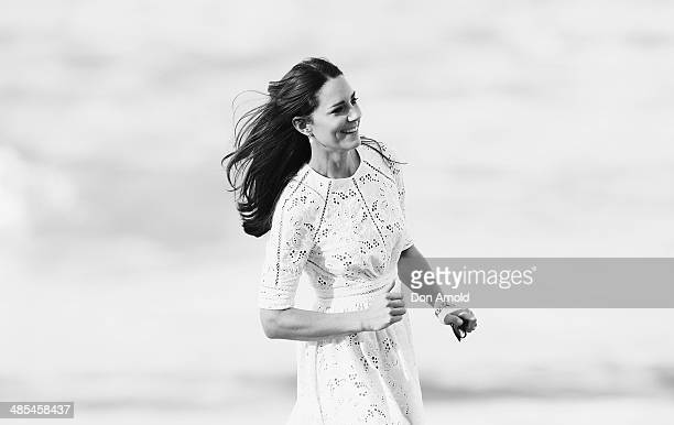 Catherine Duchess of Cambridge walks along the waters edge at Manly Beach on April 18 2014 in Sydney Australia The Duke and Duchess of Cambridge are...