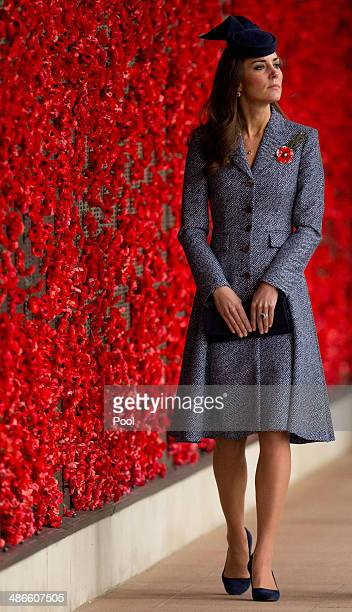 Catherine Duchess of Cambridge walks along the World War I Wall of Remembrance during their visit to the Australian War Memorial on ANZAC Day on...